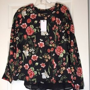 Bobeau black floral top